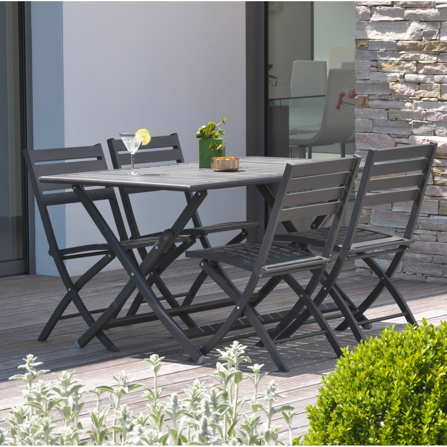 Table De Jardin Gris Anthracite destiné Table De Jardin 4 Personnes