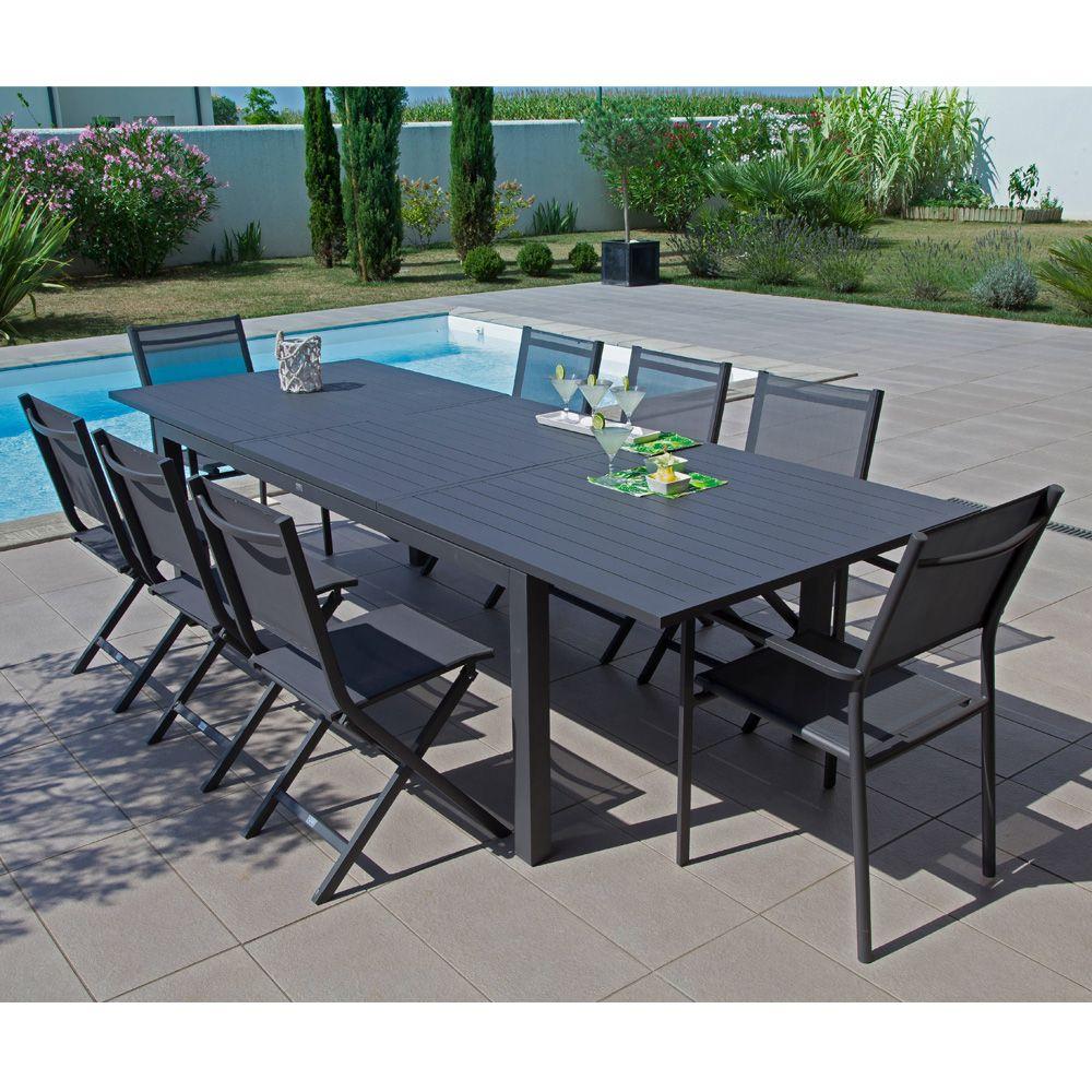 Table De Jardin Trieste Aluminium L200/280 L103 Cm Gris avec Kettler Table De Jardin
