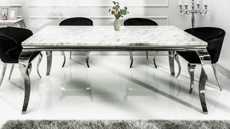 Table De Salle À Manger Baroque Plateau Marbre Blanc Zita serapportantà Table Salle A Manger En Marbre