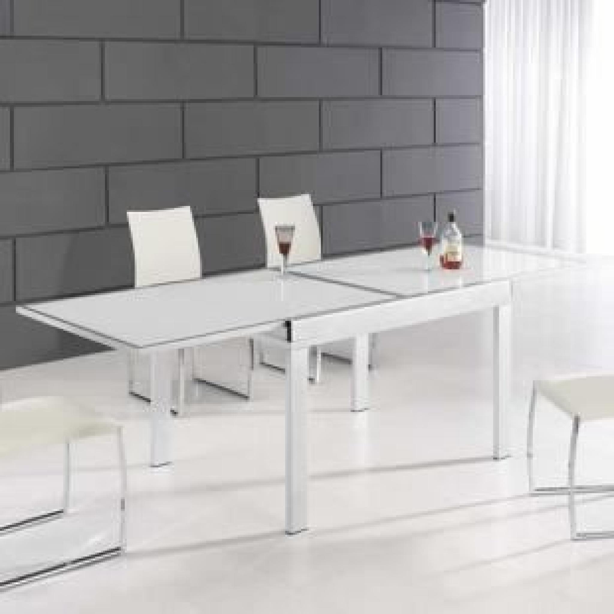 Table En Verre Extensible Blanche Manhattan dedans Table Salle A Manger Extensible Fly
