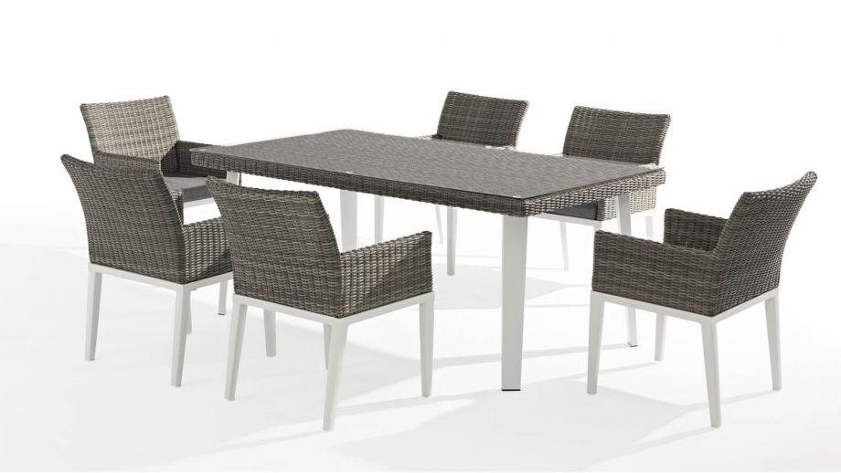 Table Et 6 Fauteuils De Jardin En Aluminium Et Résine intérieur Table Et Chaise De Jardin En Resine