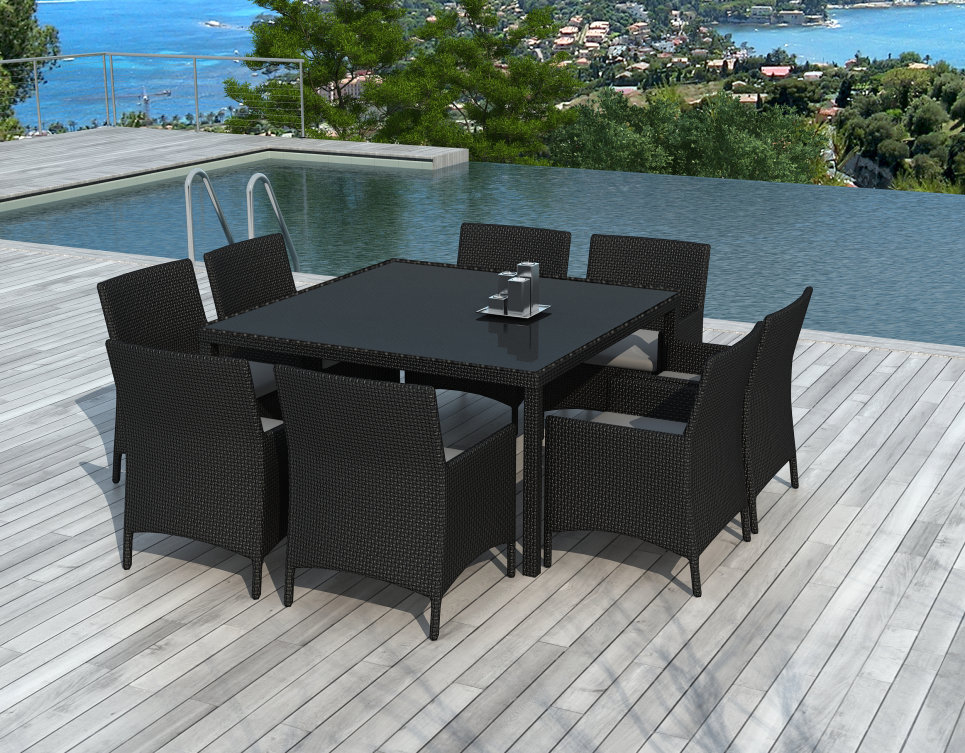 Table Et Chaises De Jardin 8 Personnes En Résine Tressée destiné Table Et Chaise De Jardin En Resine