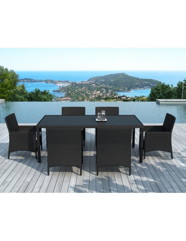 Table Et Chaises De Jardin En Resine Tressee Noir/Blanc 6 tout Table Et Chaise De Jardin En Resine