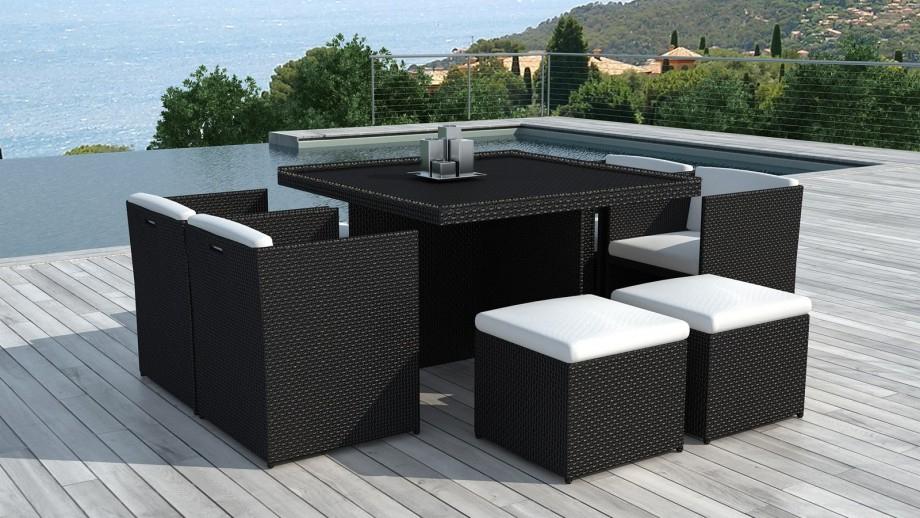 Table Et Fauteuils De Jardin Encastrables En Résine encequiconcerne Table Et Chaise De Jardin En Resine