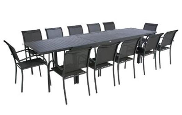Table Extensible Aluminium Hesperide Piazza 10 / 112 Places encequiconcerne Table De Jardin 10 Personnes