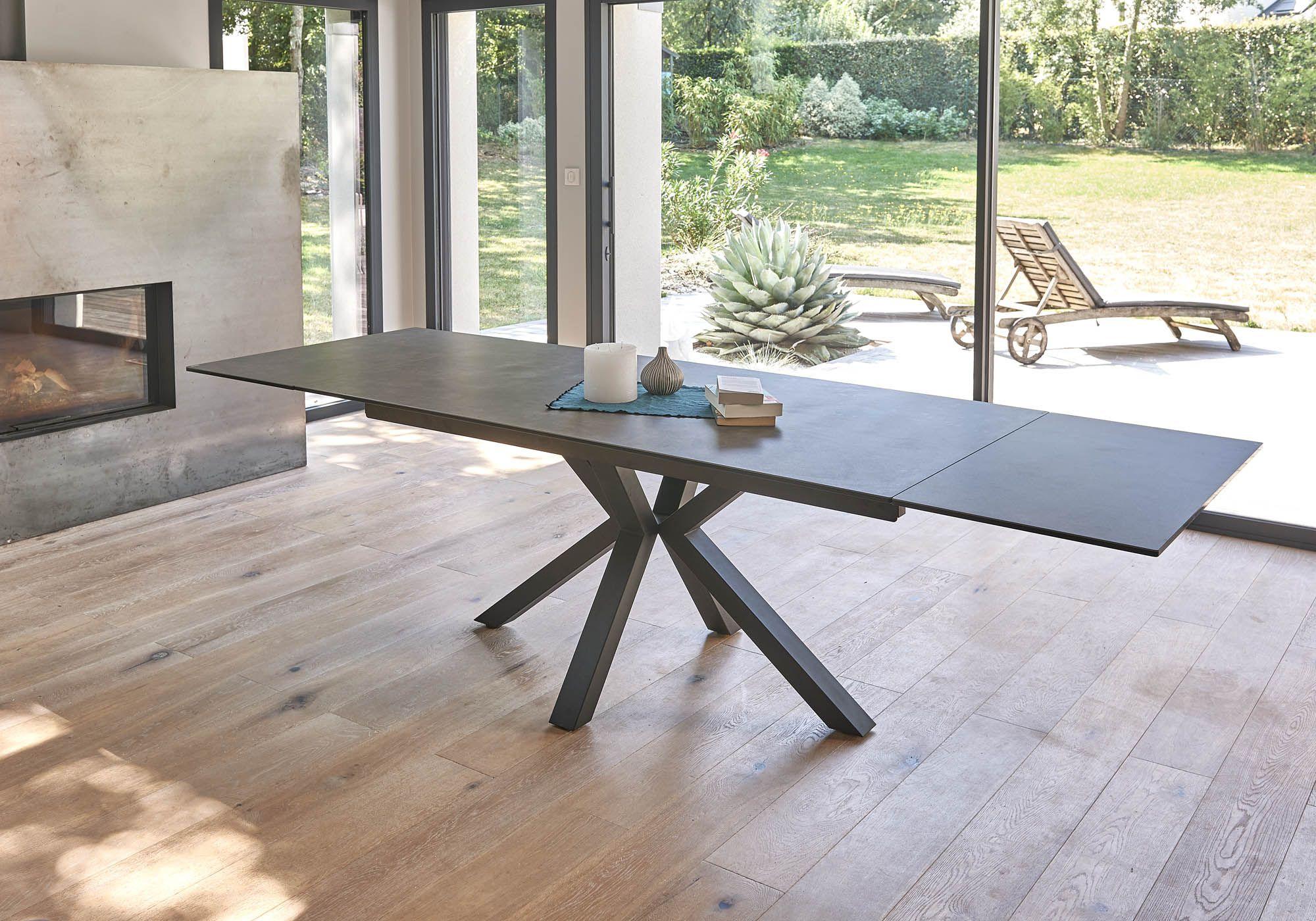 Table Extensible Avec Plateau En Céramique Teinte Grise Et intérieur Table Salle A Manger Plateau Ceramique