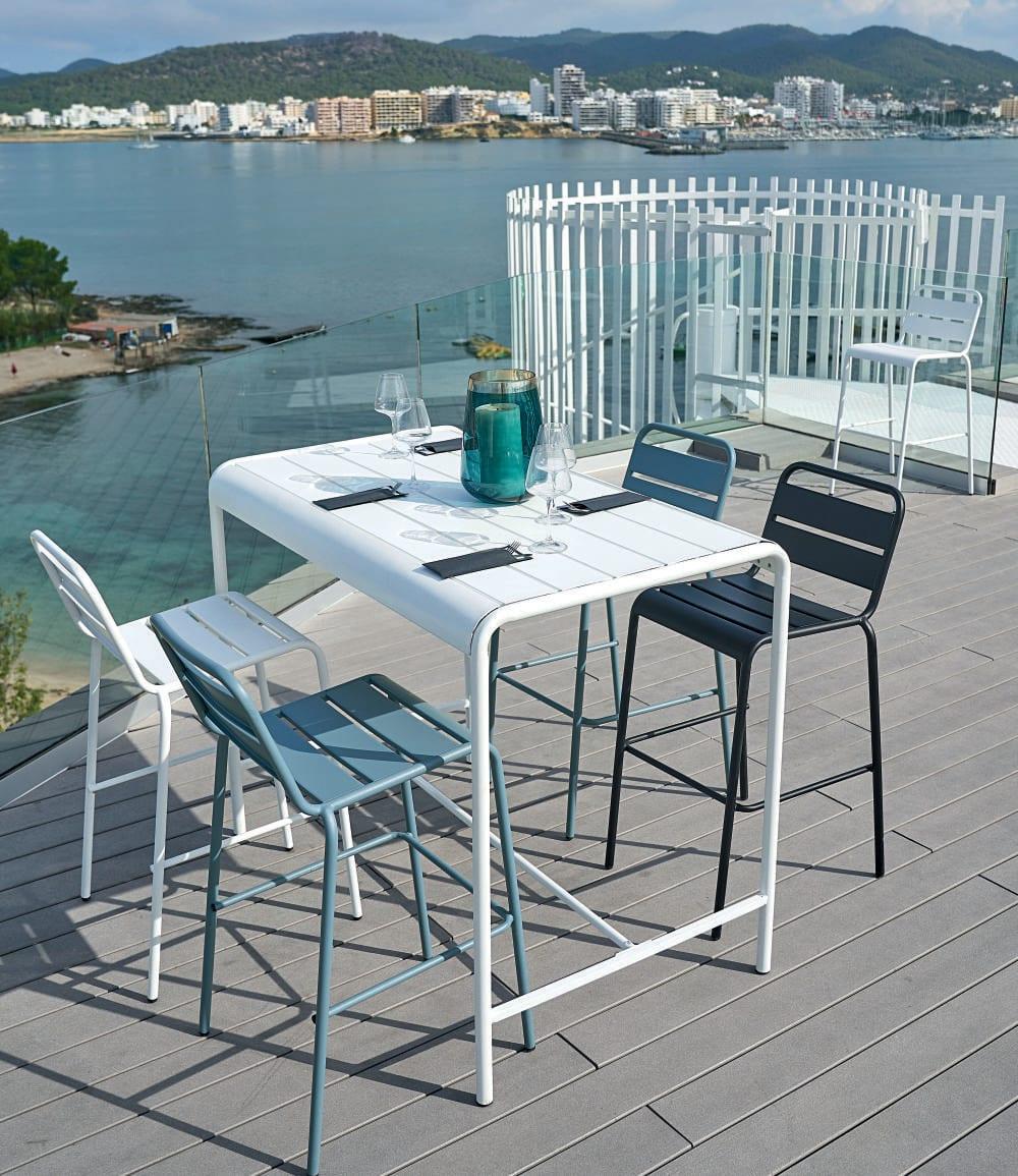 Table Haute De Jardin En Métal Blanc 4 Personnes L130 à Table Jardin 4 Personnes