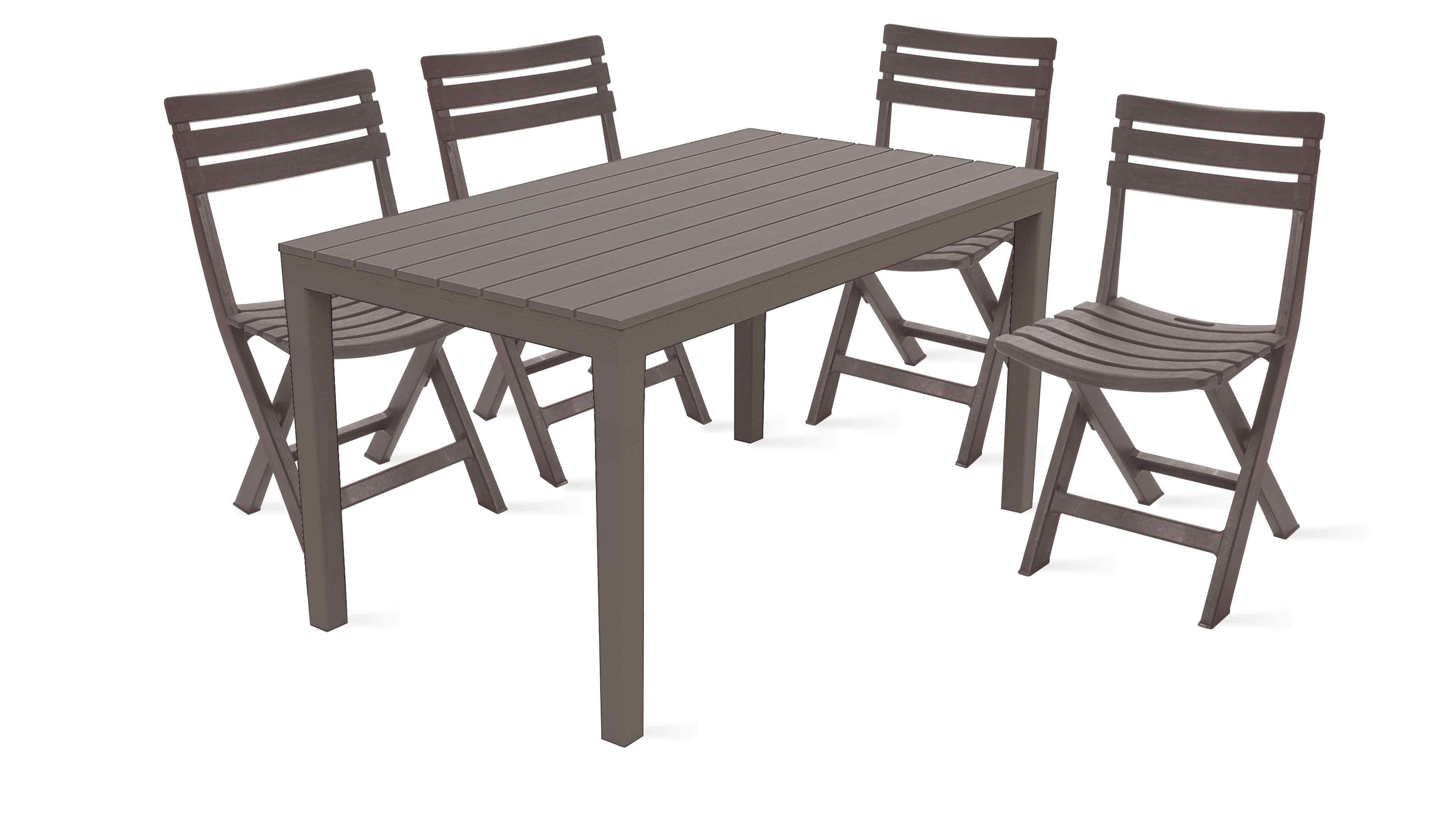 Table Jardin Plastique Et Chaises Pliantes serapportantà Salon De Jardin Pliant