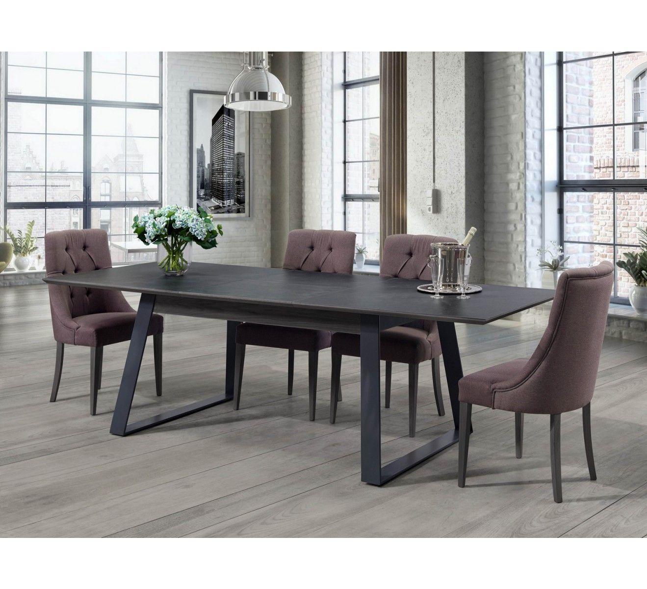 """Table Pieds Fer Et Plateau Céramique """"factory"""" En 2020 à Table Salle A Manger Plateau Ceramique"""