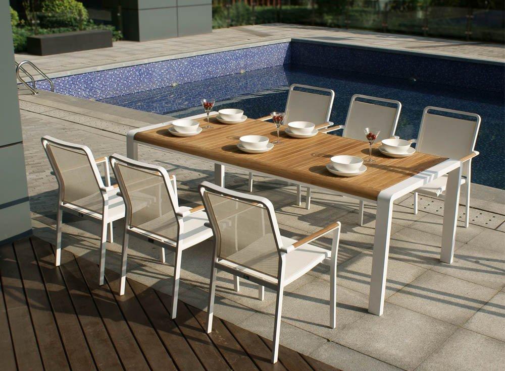 Table Pour Salon D'Été Aluminium Et Teck Blanc : Le encequiconcerne Table Et Chaise De Jardin En Resine