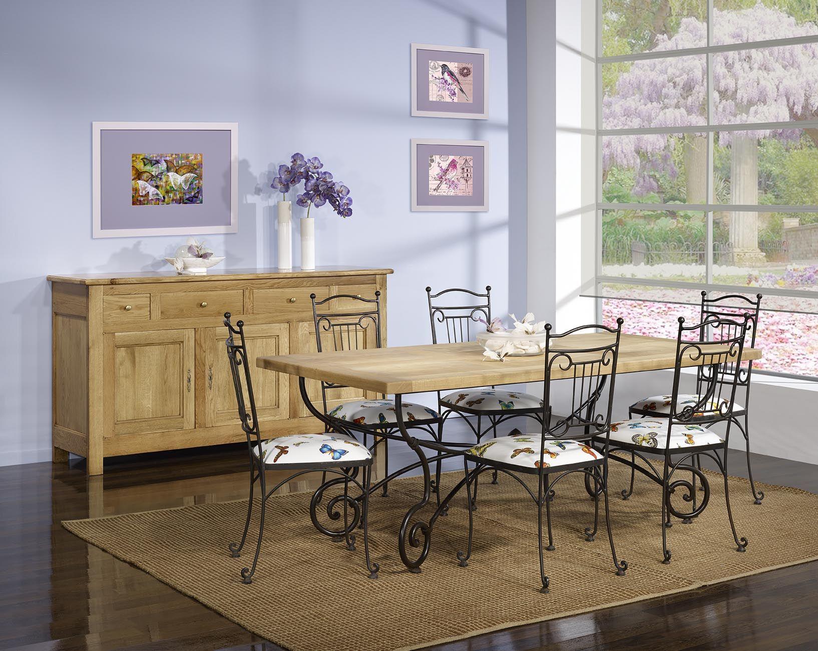 Table Rectangulaire 200*100 Plateau Chene Massif + 6 Chaises tout Table Salle A Manger En Fer Forgé