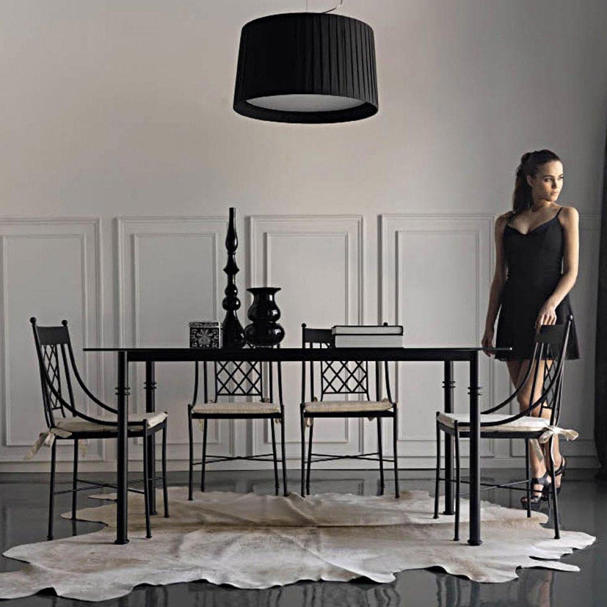 Table Rectangulaire Fer Forge Avec Plateau En Verre Artegnia destiné Table Salle A Manger En Fer Forgé