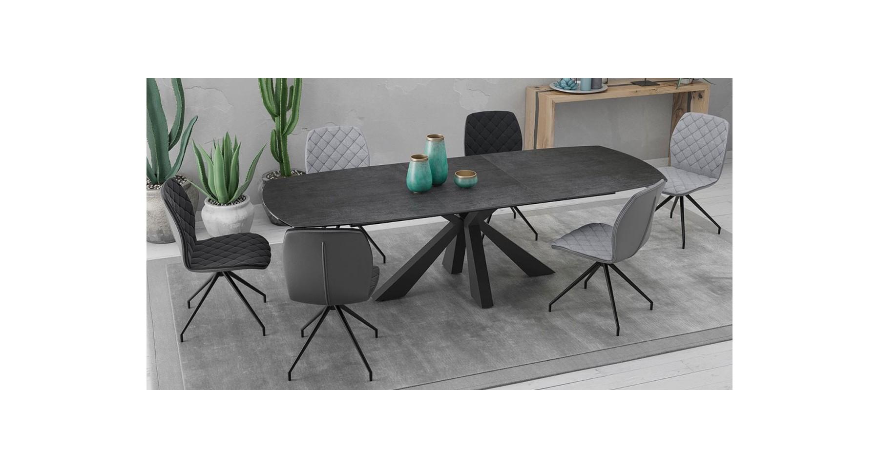 Table Repas Extensible Design Contemporain Plateau Céramique encequiconcerne Table Salle A Manger Plateau Ceramique