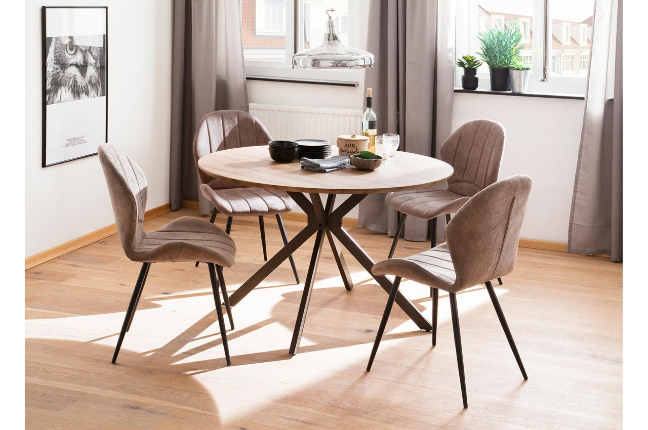 Table Ronde Design Pas Cher Bois & Métal Pour Salle À Manger serapportantà Table Salle À Manger Design Pas Cher