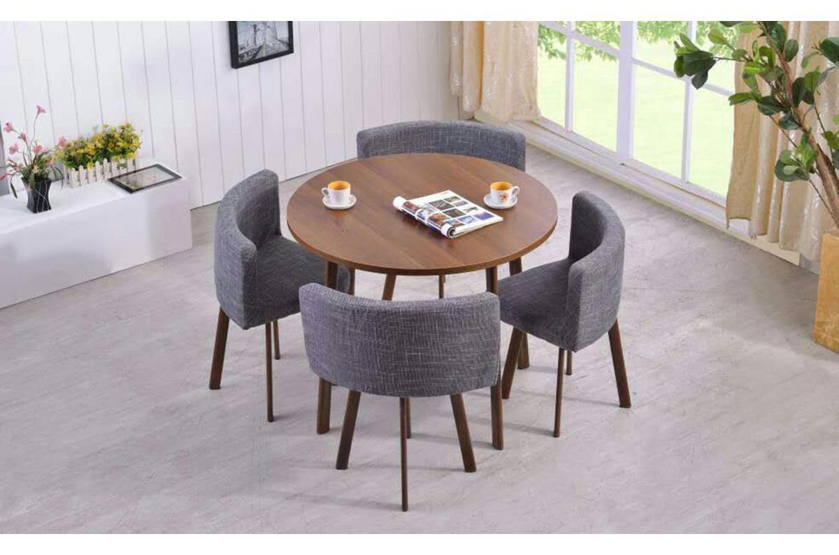 Table Ronde Marron Et Chaises En Tissu Gris Roissy Plus D'infos encequiconcerne Table Salle À Manger Design Pas Cher