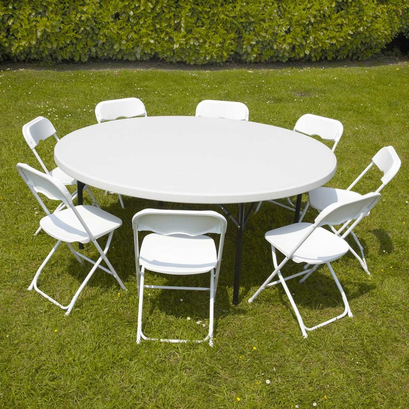 Table Ronde Pliante Et 8 Chaises | Pro à Salon De Jardin Table Ronde