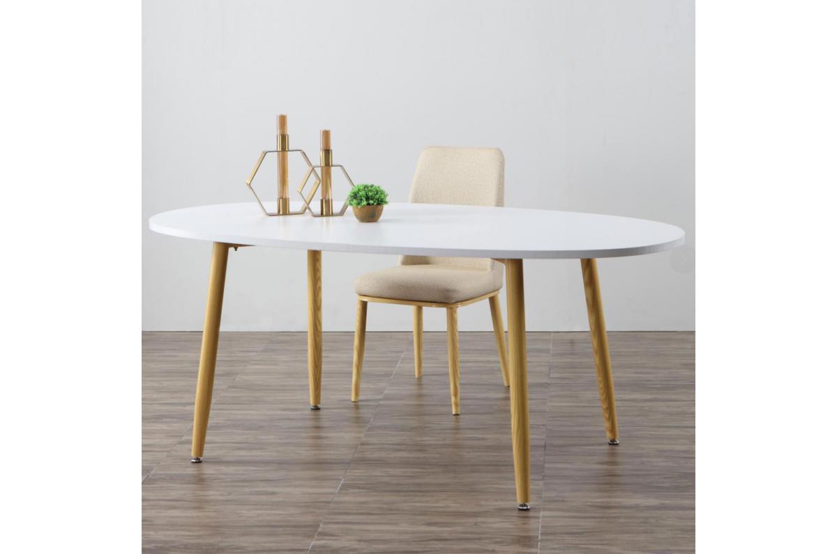 Table Scandinave Ovale Beige Et Blanche Noelle Plus D'infos concernant Table Salle À Manger Design Pas Cher