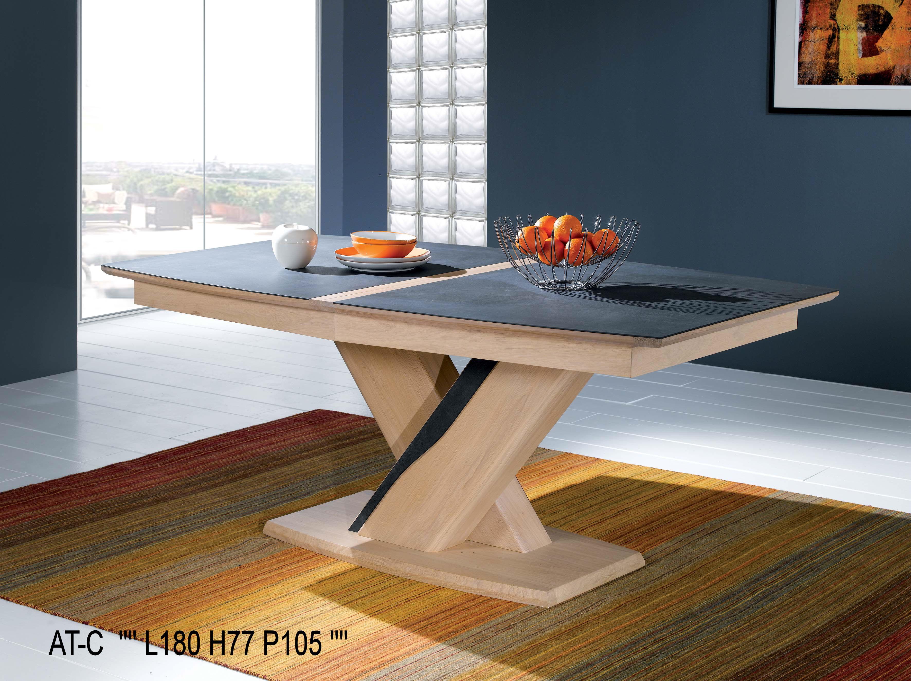 Table Tonneau Plateau Céramique Avec 1 Allonge Incorporée intérieur Table Salle A Manger Plateau Ceramique