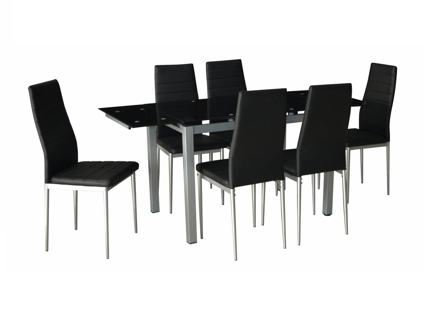 Table Verre Extensible + 6 Chaises Noir Fly concernant Table Salle A Manger Extensible Fly