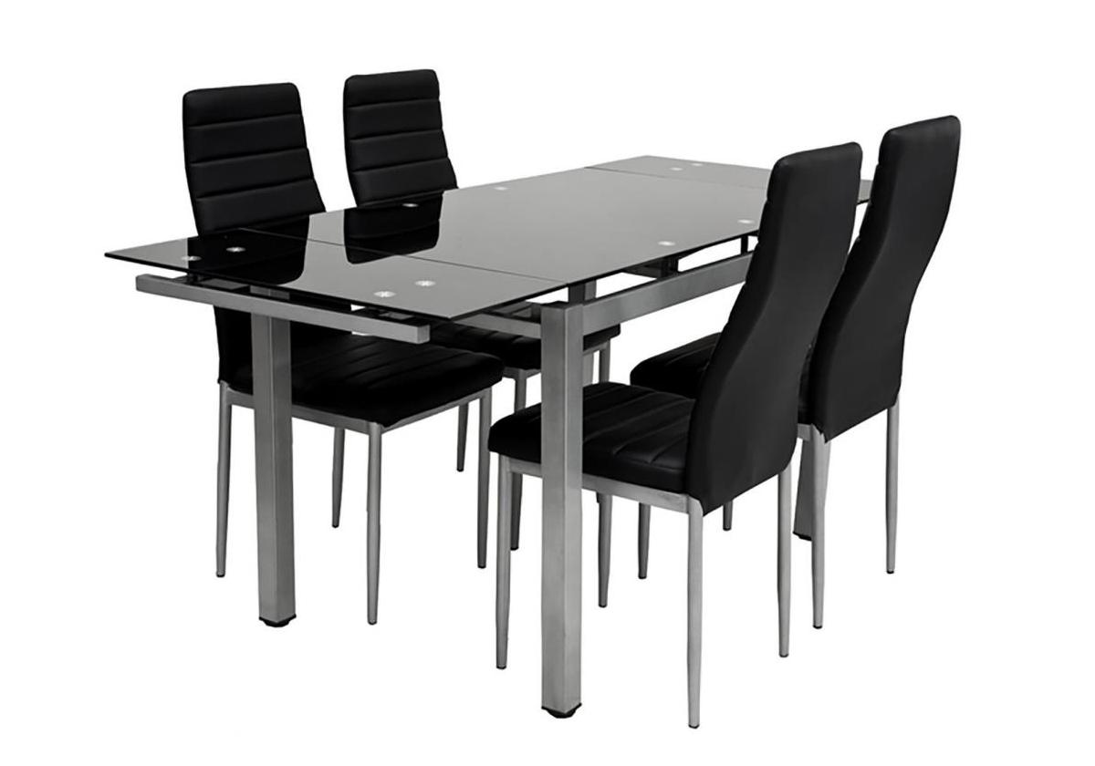 Table Verre Extensible + 6 Chaises Noir Fly Design & Pas Cher concernant Table Salle A Manger Extensible Fly