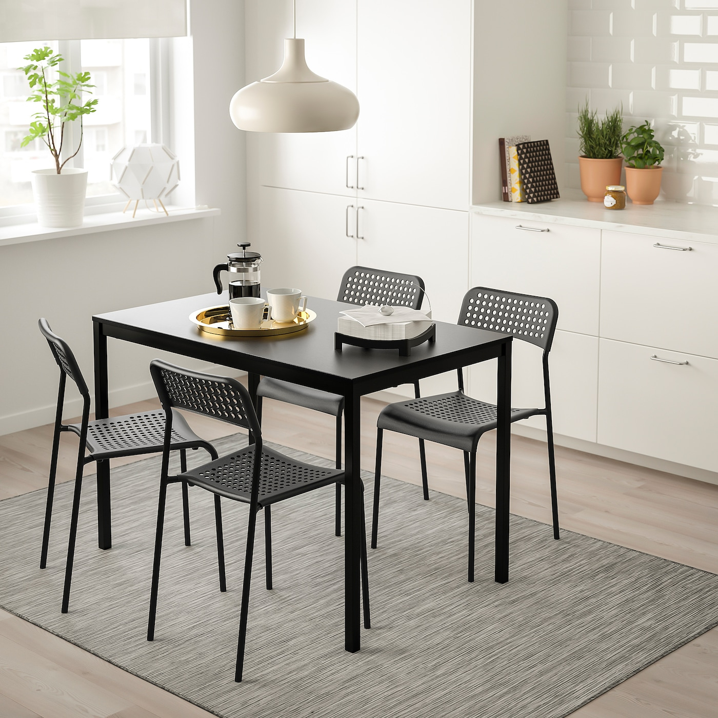 Tärendö / Adde Table And 4 Chairs - Black, Black 110X67 Cm serapportantà Tables Salle À Manger Ikea
