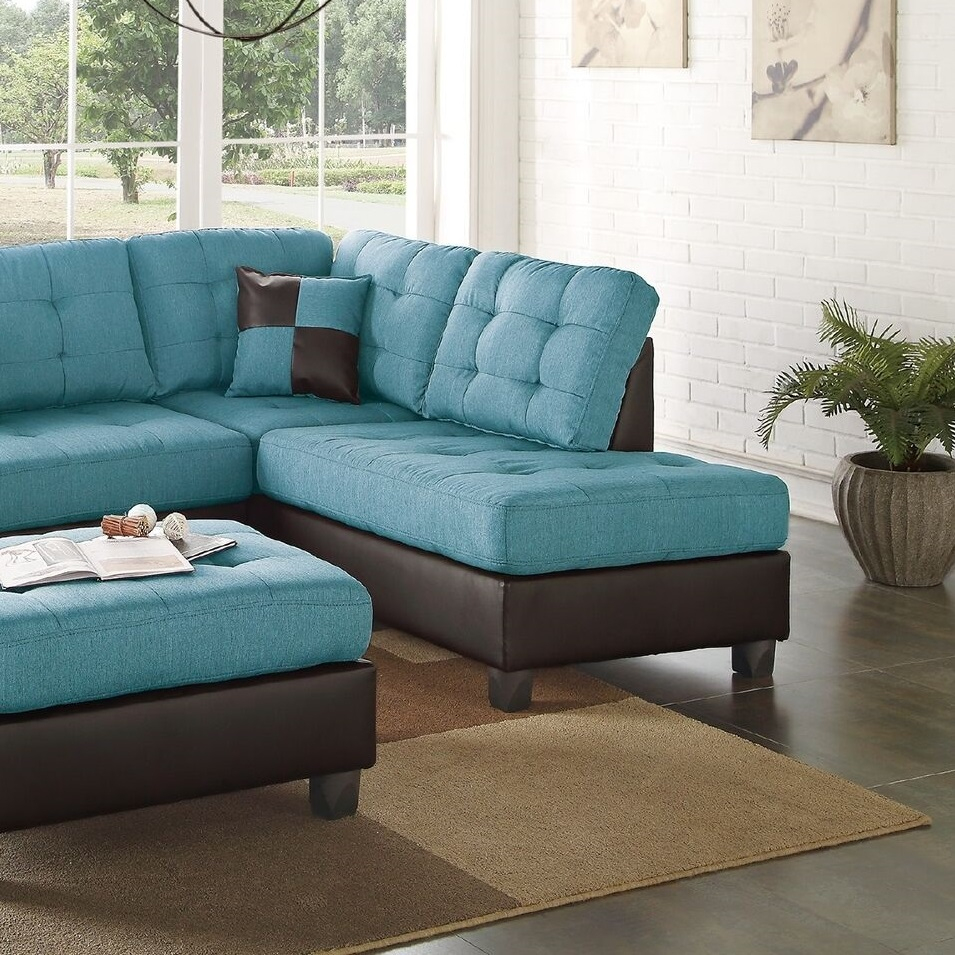 Teal Linen Sectional Sofa Chaise Ottoman | Hot Sectionals pour Sofa