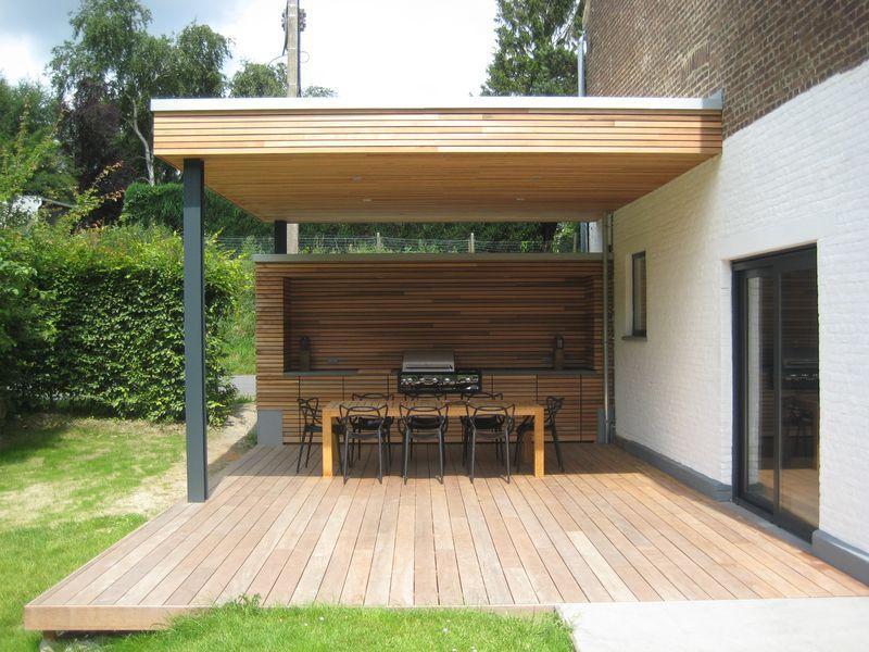 Terrasse Couverte À Vieux-Genappe - Buitenbarbecue tout Terrasse Couverte Bois