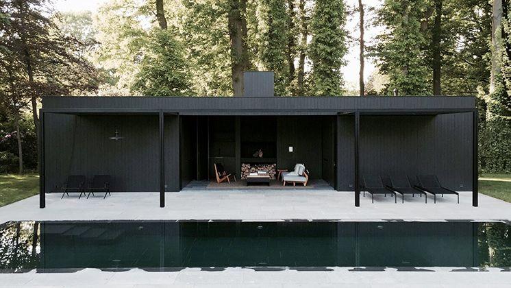 Une Maison Design Toute En Longueur Ouverte Sur La Piscine tout Pool House En Kit