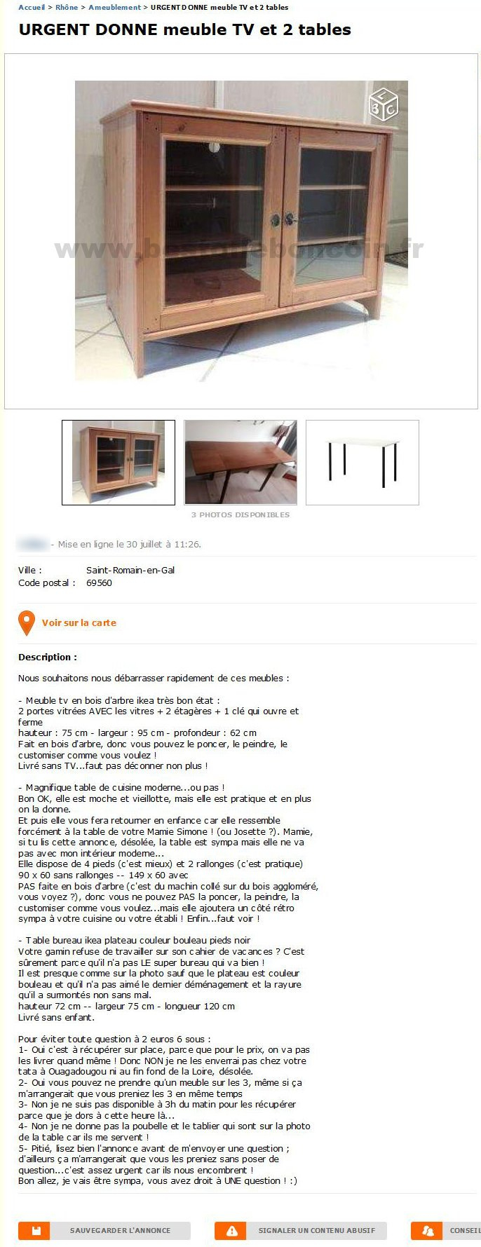 Urgent Donne Meuble Tv Et 2 Tables / Ameublement / Rhône pour Le Bon Coin 62 Meubles