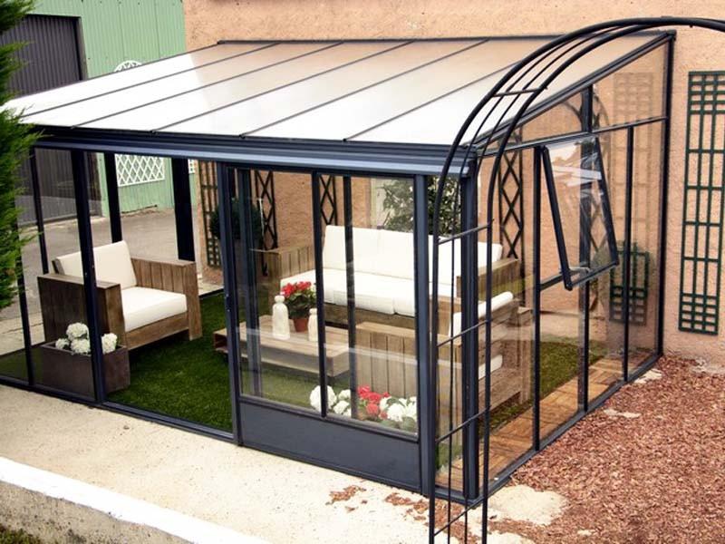 Véranda Ou Jardin D'Hiver Harmonie Profondeur 3,08 M Euro intérieur Serre De Jardin Adossée