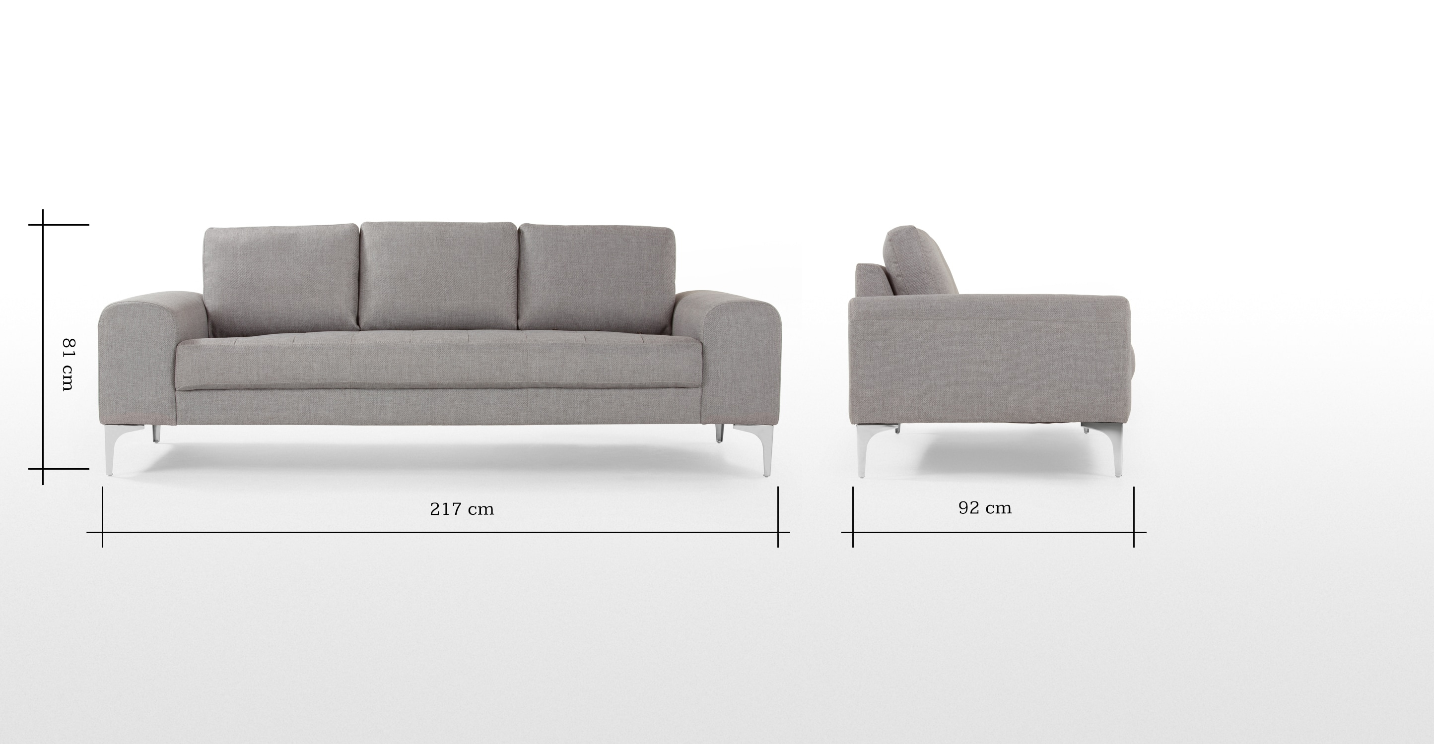 Vittorio 3 Seater Sofa In Pearl Grey | Made avec Sofa 3 Places