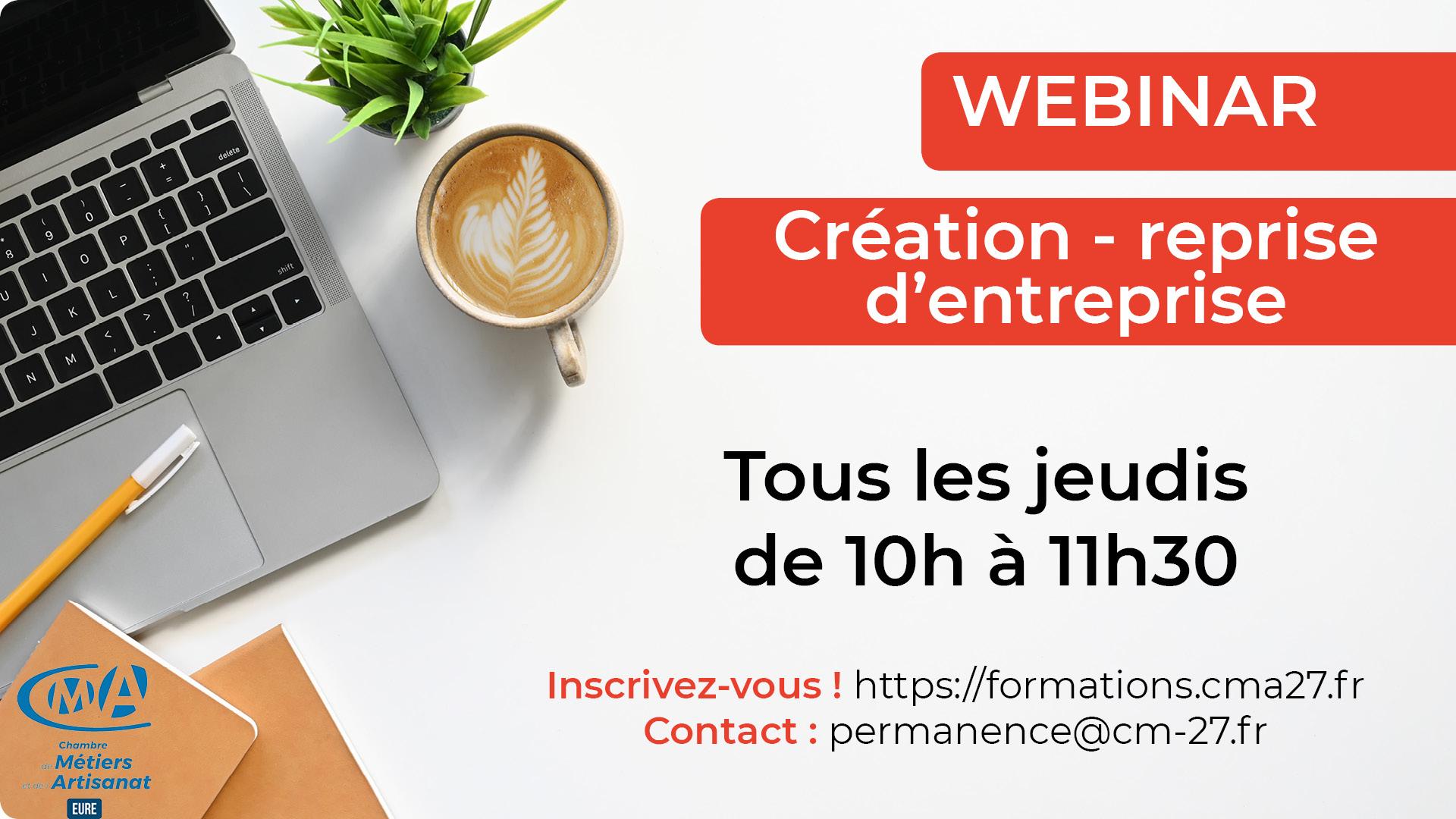 Webinar : Création-Reprise D'entreprise - Chambre De Métiers à Chambre Des Metiers De L Eure