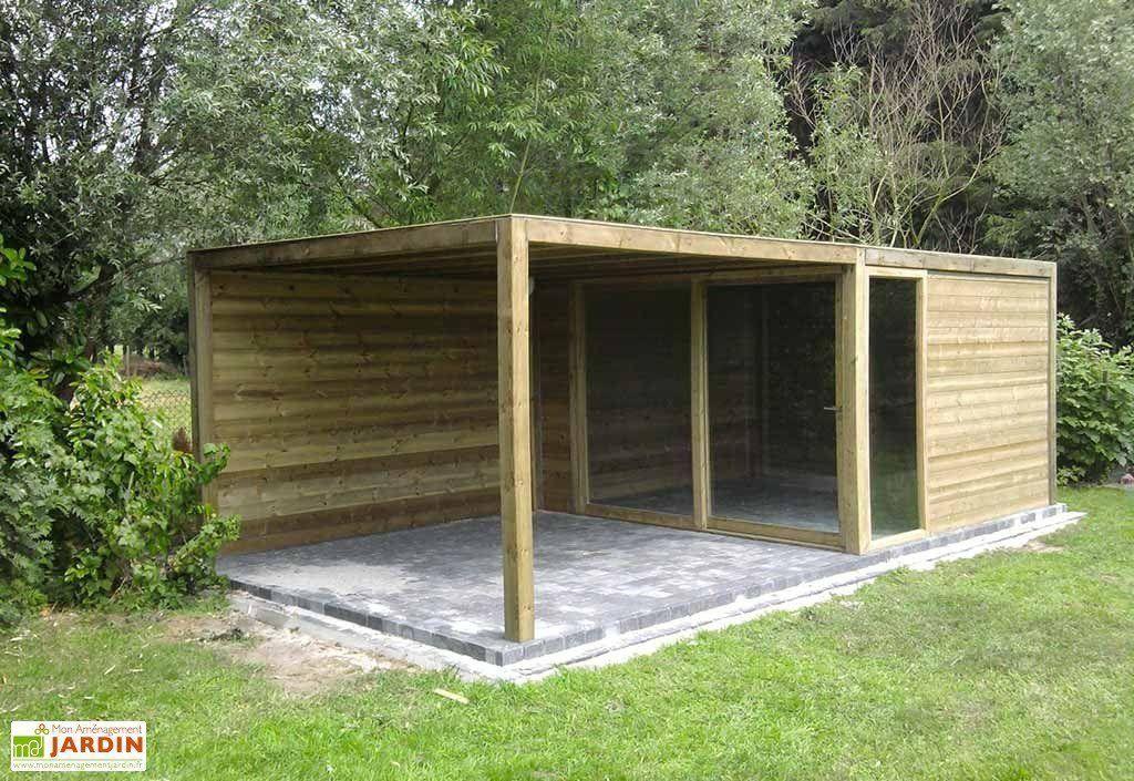 Abri De Jardin Bois Exterior (350X350X230) - Gardival intérieur Abri De Jardin En Bois