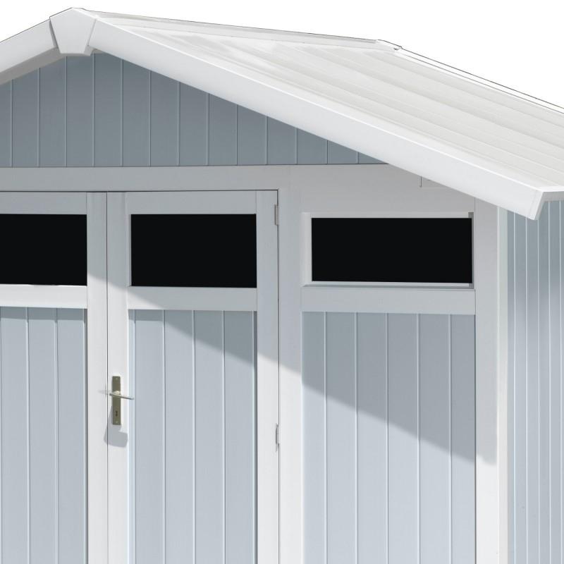 Abri De Jardin En Pvc 7,53M² Utility Blanc Et Gris Bleu serapportantà Abri De Jardin Grosfillex 7 5