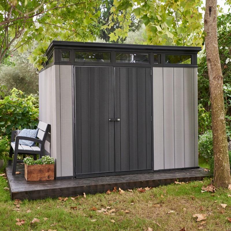 Abri Monopente En Résine Brossée Brossium 6M² + Plancher Keter intérieur Abri De Jardin En Resine