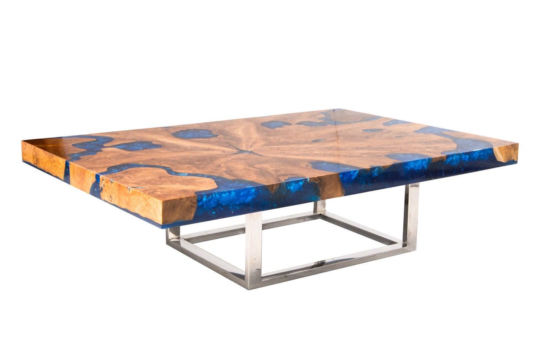 Blue Cracked Resin Coffee Table avec Table Bois Resine