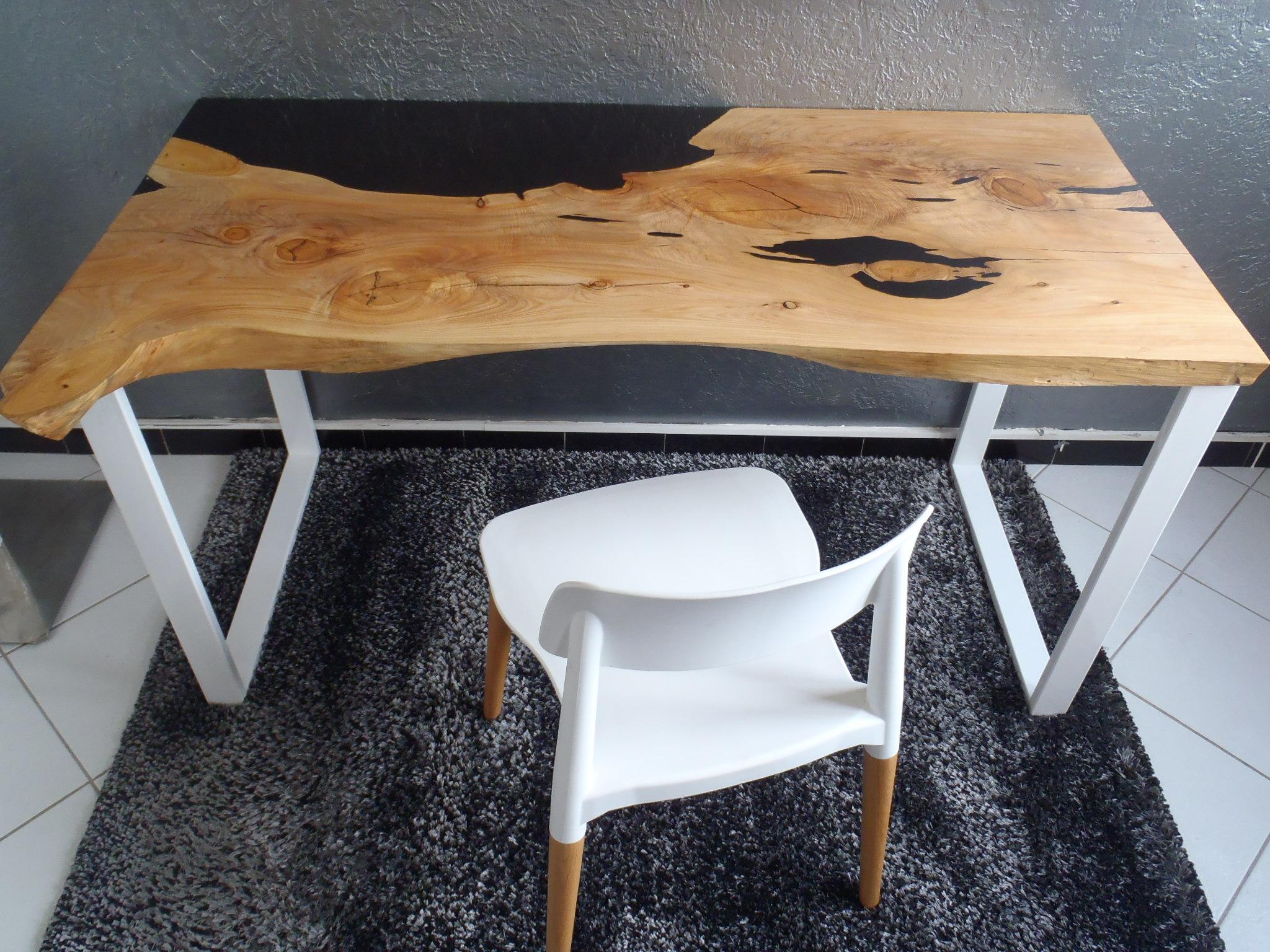 Bureau Fusion Bois/Résine - Boutique Penone Design serapportantà Table Bois Resine