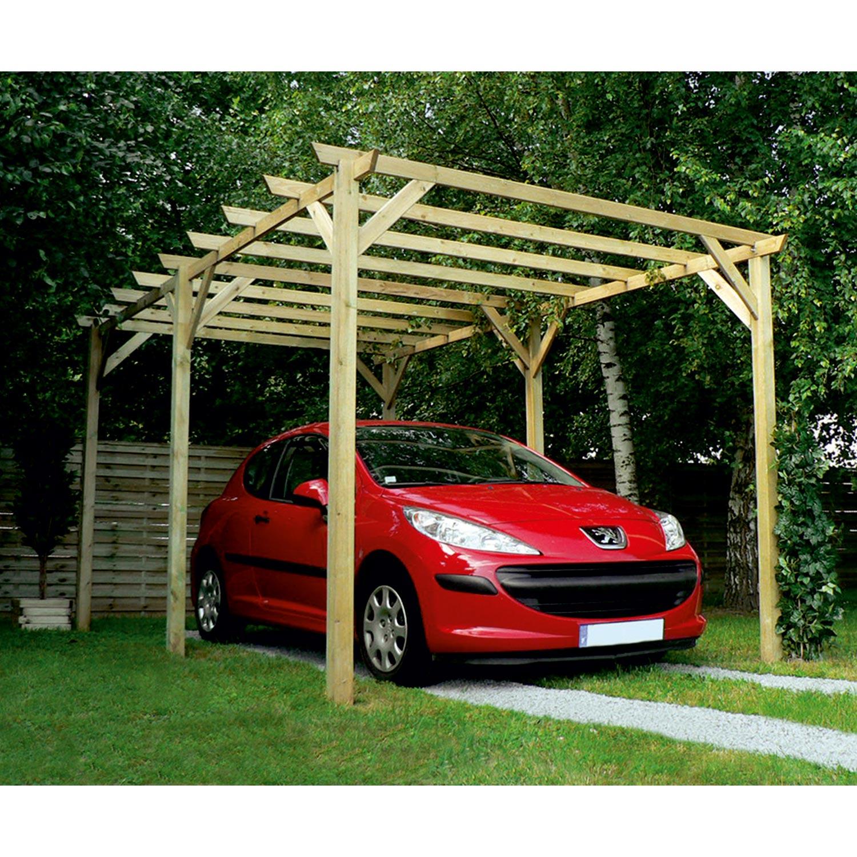 Carport Bois Maranello 1 Voiture, 15 M² | Leroy Merlin intérieur Abri Camping Car Brico Dépôt