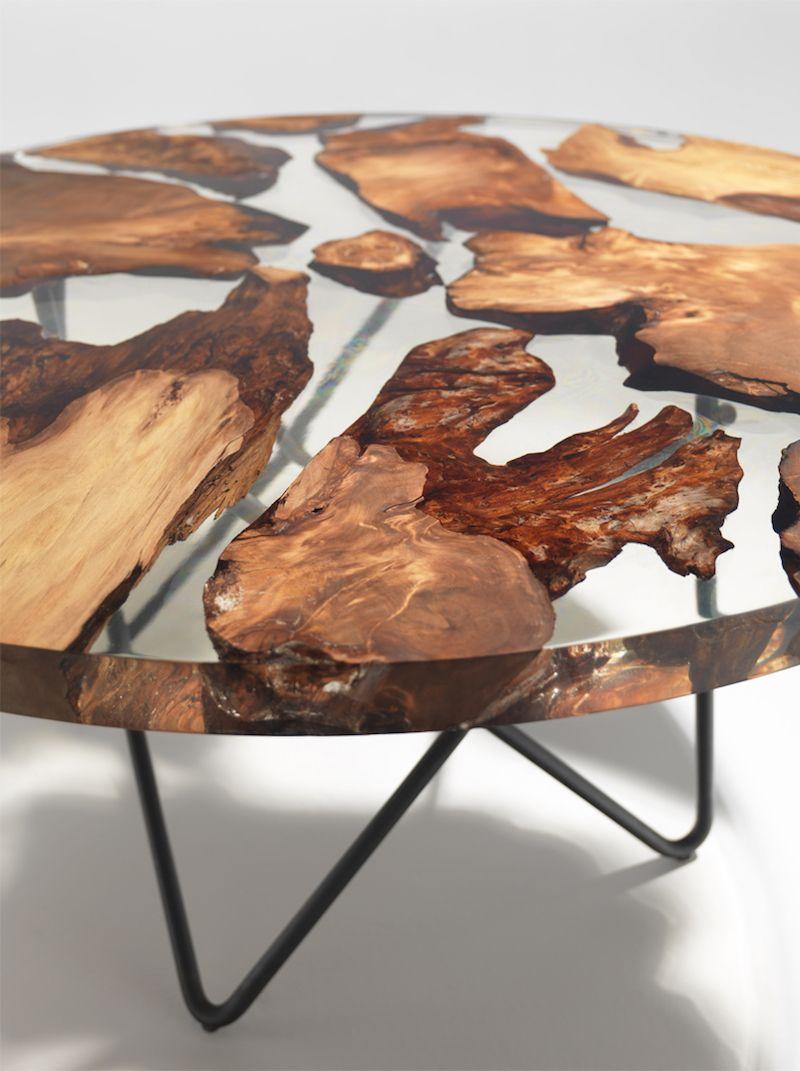 Earth Table - Une Table En Résine Et Bois De 50000 Ans dedans Table Bois Resine