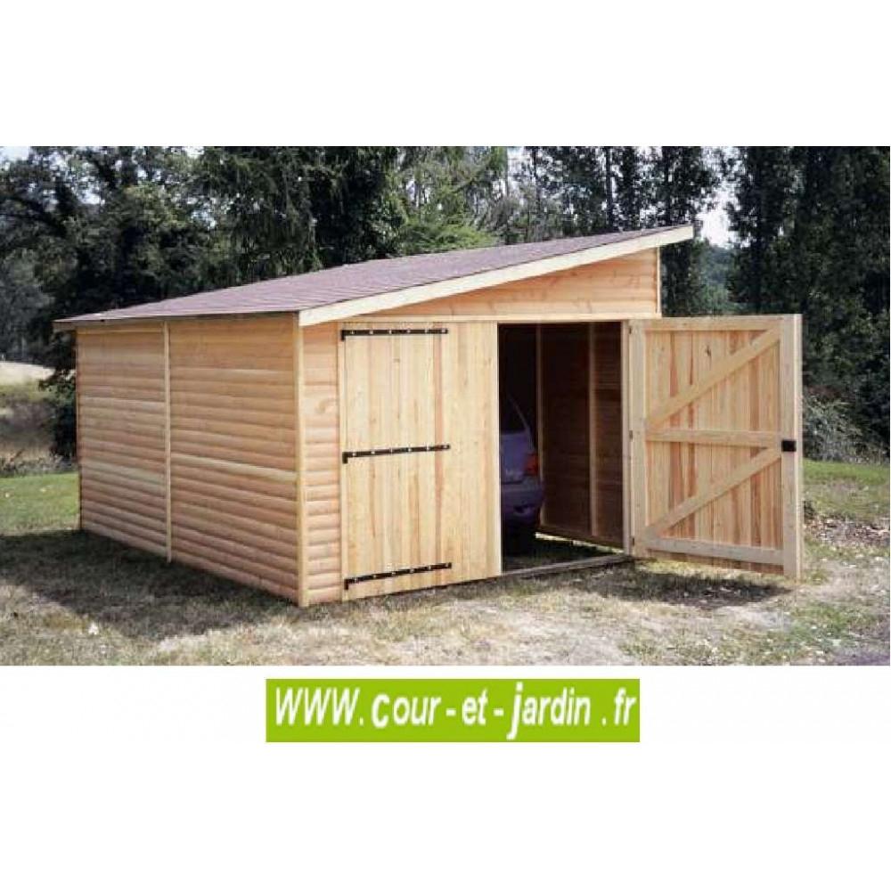 Garage Bois 12 M² - 1 Pan-Garages Et Abris Auto Bois- Cour pour Abri De Moto En Bois