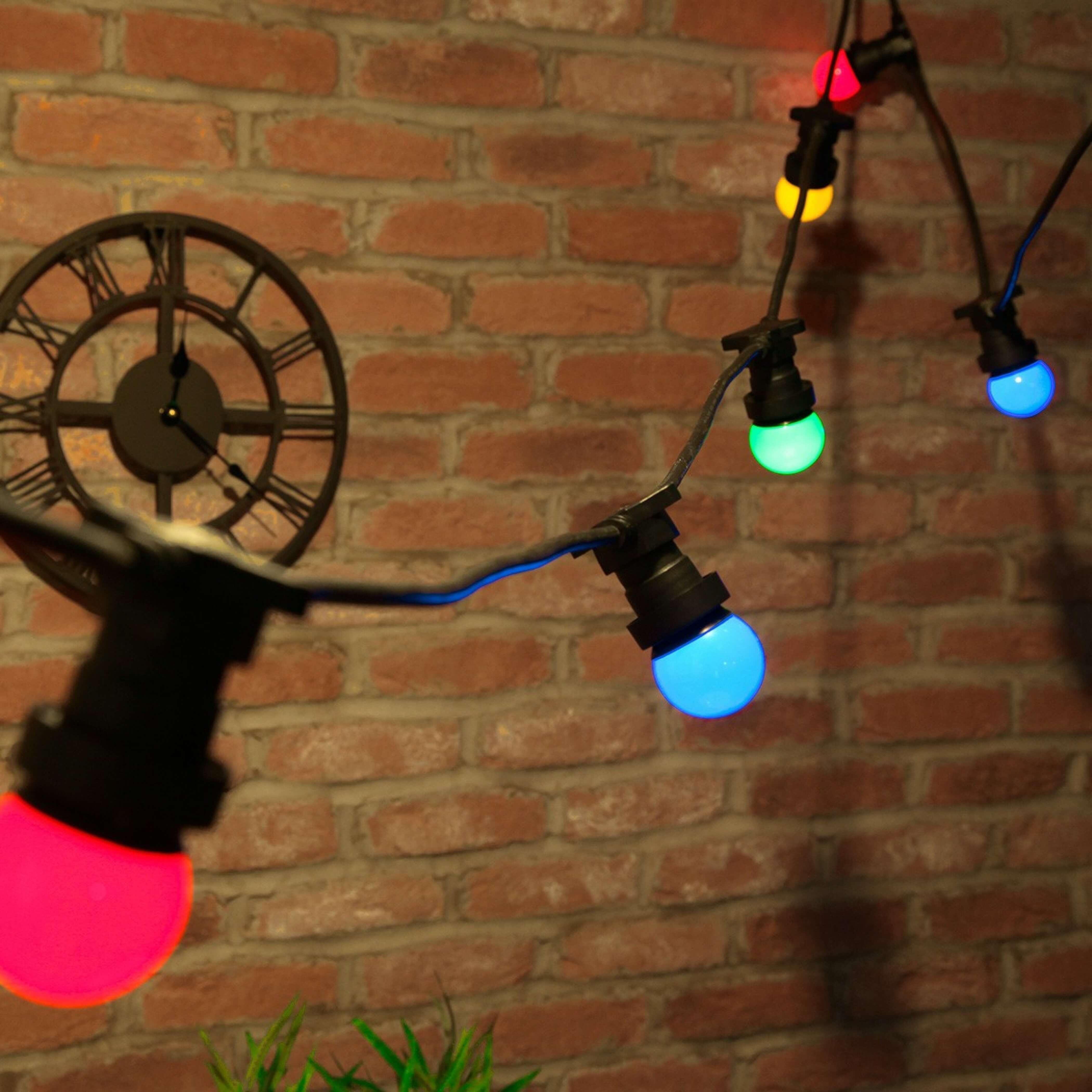 Guirlande Guinguette Led Multicolore 12M 20 Globes à Guirlande Lumineuse Exterieur Professionnel