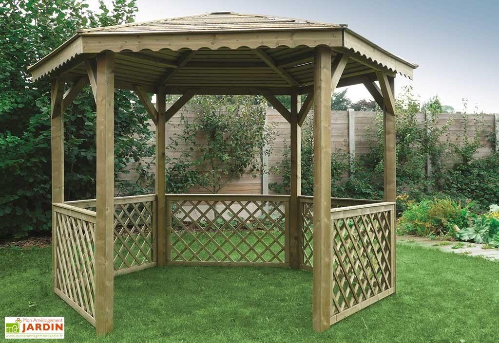 Kiosque Bois Hexagonal - Tout Le Matériel Pour Son Jardin pour Kiosque Pour Jardin