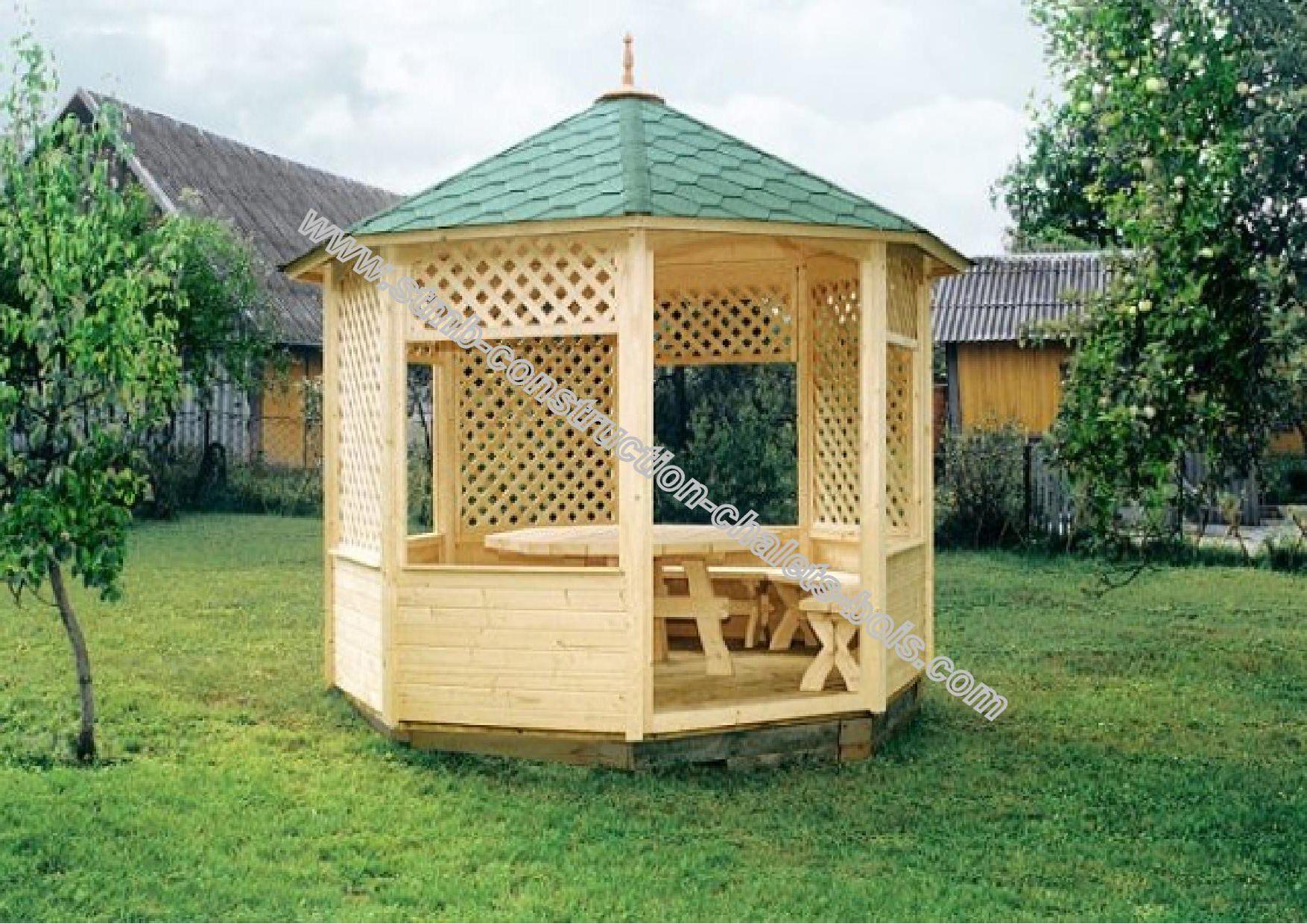 Kiosque En Bois Traité Autoclave Aix Livré Gratuitement En Kit serapportantà Kiosque De Jardin
