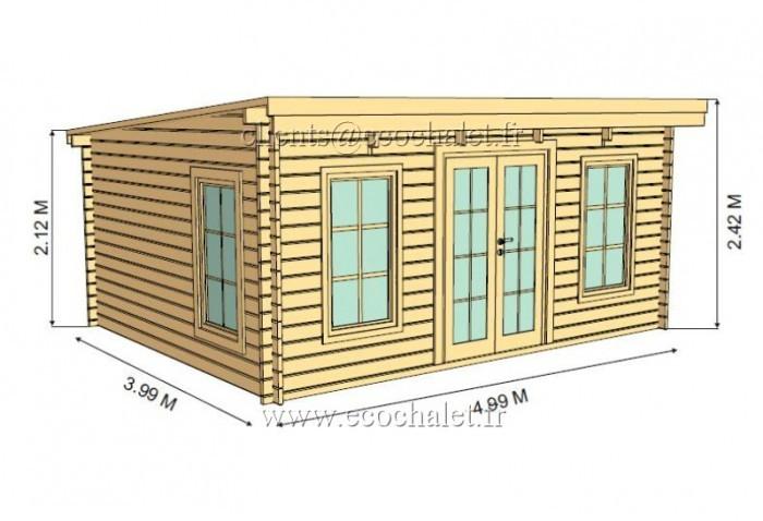 Livraison Rapide Abri De Jardin Torino 20M² (5X4M), 44Mm intérieur Abris De Jardin 44Mm