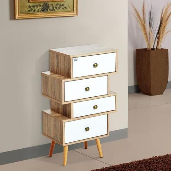 Meuble Commode Chiffonnier Style Scandinave 4 Tiroirs serapportantà Meuble Style Scandinave Pas Cher