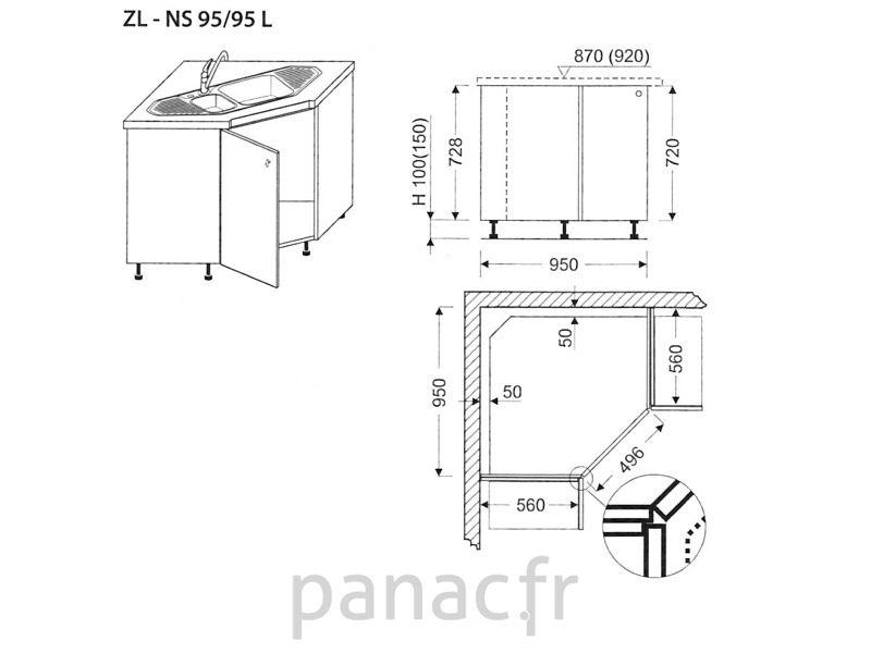 Meuble D'Angle Sous-Évier Zl-Ns 95/95 L | Meuble Angle à Protection Angle Meuble