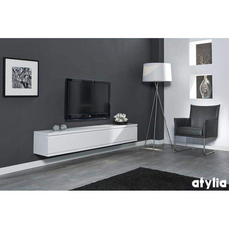 Meuble Tv Design Suspendu Flow Atylia | Meuble Tv, Meuble à Meuble Suspendu Salon