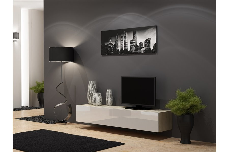 Meuble Tv Design Suspendu Vito 180Cm - Chloe Design concernant Meuble Suspendu Salon