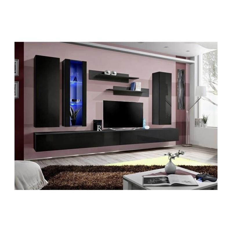 Meuble Tv Fly E4 Design, Coloris Noir Brillant. Meuble serapportantà Meuble Suspendu Salon