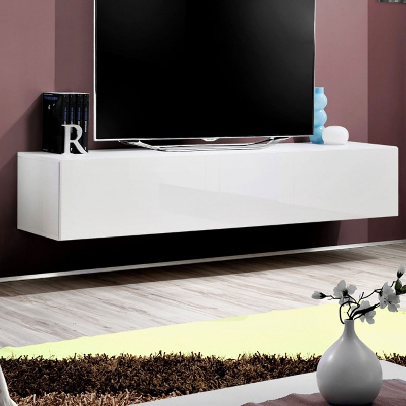 """Meuble Tv Mural Design """"Fly I"""" 160Cm Blanc avec Meuble Tele Fly"""